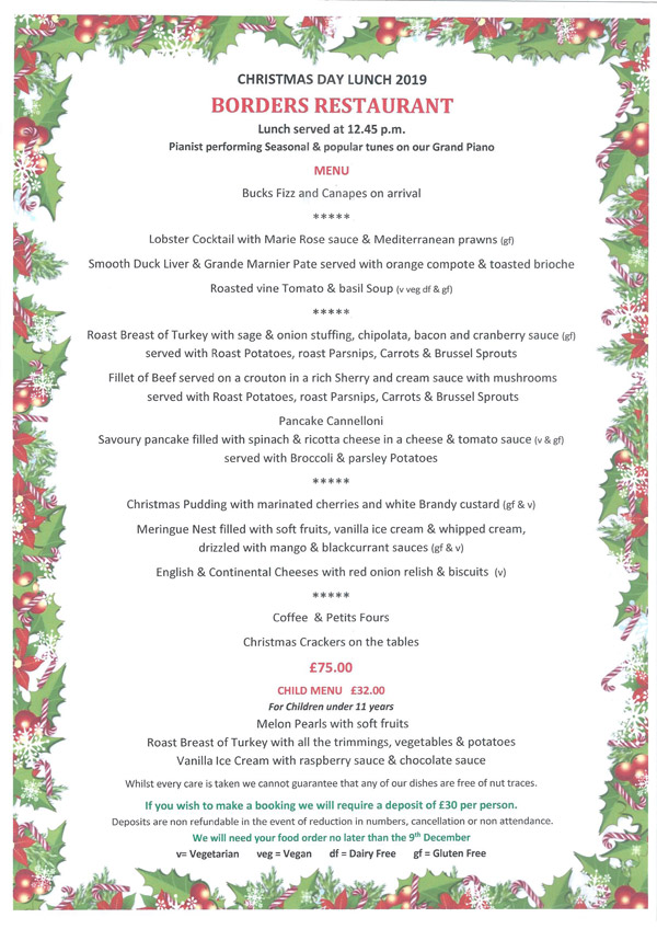 Borders Restaurant Christmas Day Lunch 2019