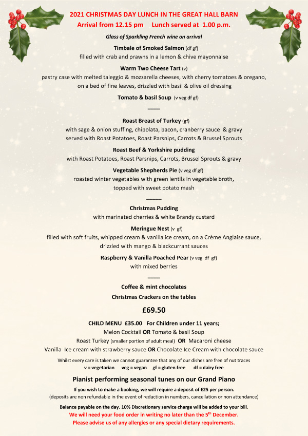 Great Hall Barn Christmas Day Lunch 2019